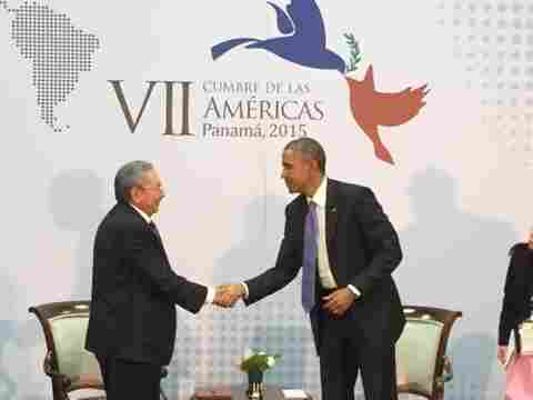 Cuban President Raul Castro and President Obama shake hands as they meet on the sidelines of the Summit of the Americas in Panama City, Panama, in April.