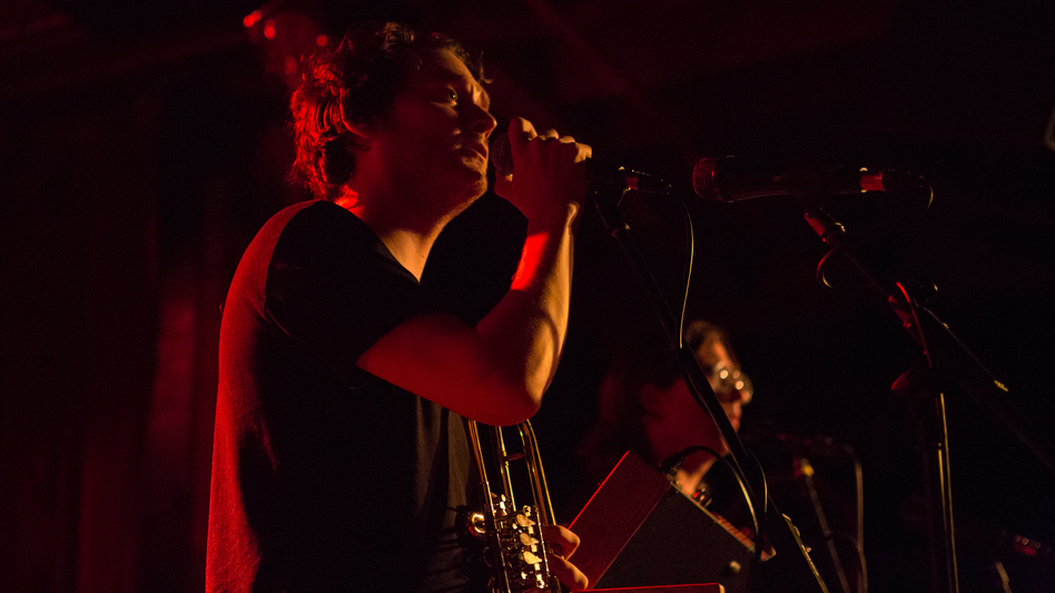 Beirut's Zach Condon performs at The Bell House in Brooklyn, N.Y. (Ebru Yildiz for NPR)