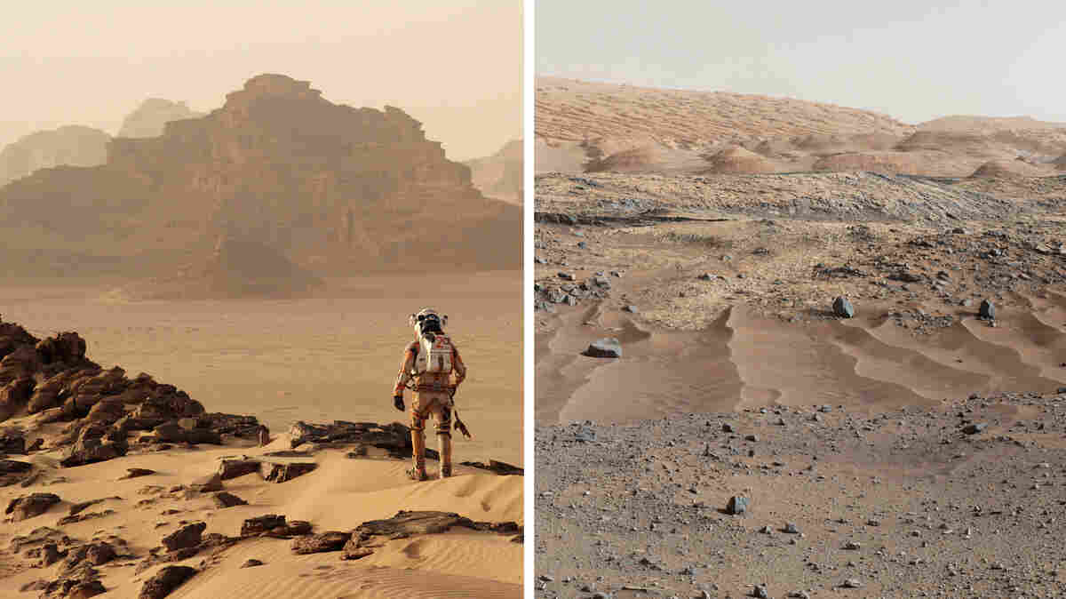 (Left) Jordan's Wadi Rum desert was chosen as the backdrop to Matt Damon's Mars. (Right) The real Mars, as seen by Curiosity, a NASA rover.