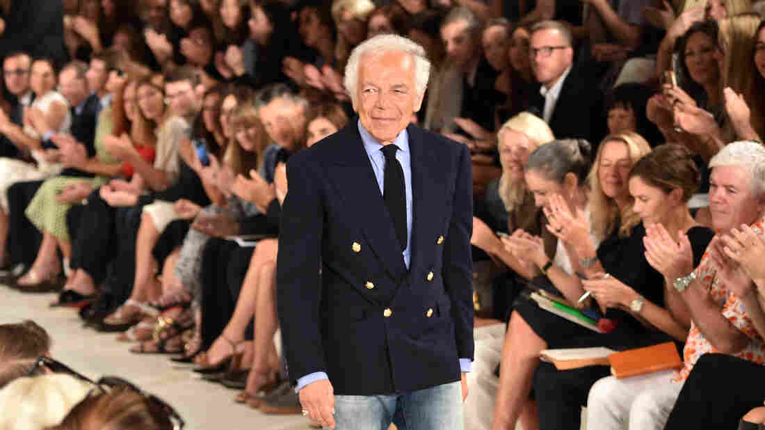 Designer Ralph Lauren poses on the runway during New York Fashion Week on Sept. 17.