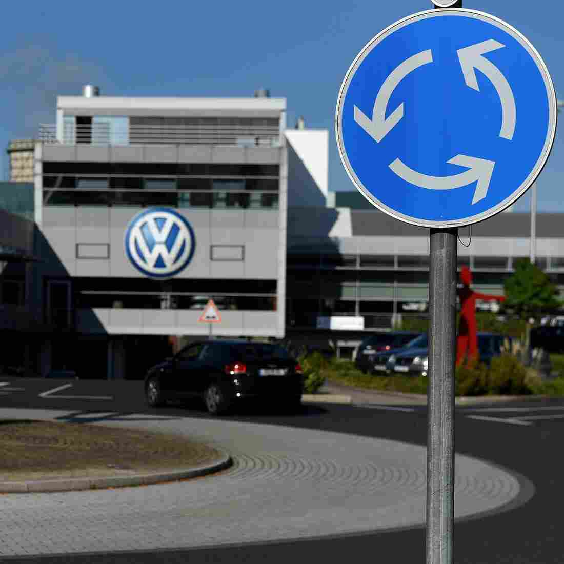 German carmaker Volkswagen says it has a plan to refit diesel cars that will make them comply with emissions standards. Here, the entrance to a VW branch in Duesseldorf, Germany, is seen on Monday.