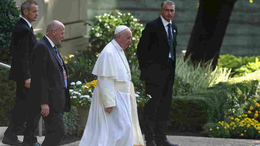 Pope Francis reportedly met with Kentucky county clerk Kim Davis at the Vatican Embassy in Washington last week. He's seen here leaving the embassy building on Thursday.