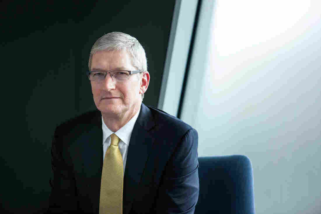 """""""We don't collect a lot of your data and understand every detail about your life. That's just not the business that we are in,"""" says Apple CEO Tim Cook, shown here at the NPR offices in Washington, D.C., on Thursday."""