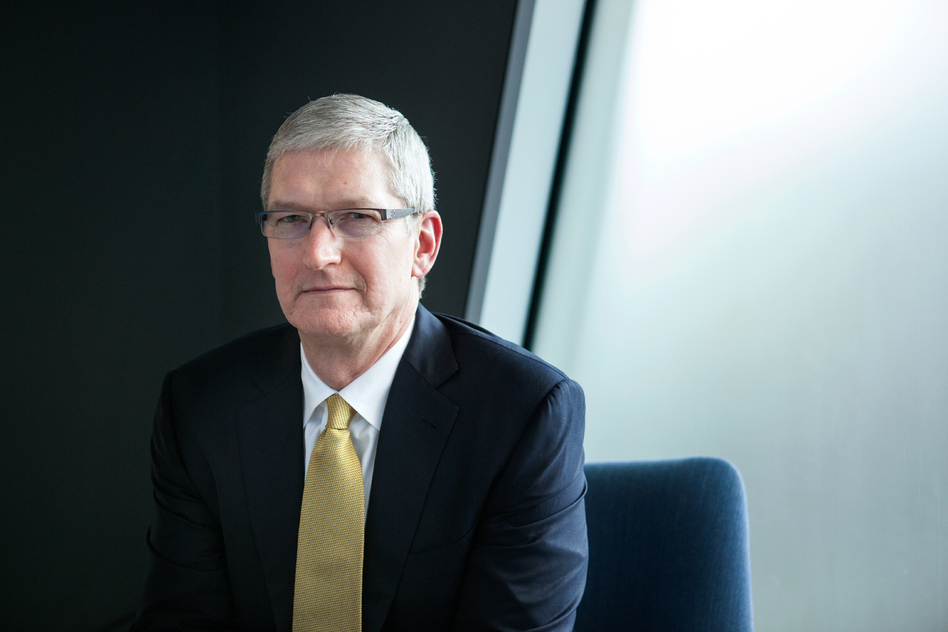"""""""We don't collect a lot of your data and understand every detail about your life. That's just not the business that we are in,"""" says Apple CEO Tim Cook, shown here at the NPR offices in Washington, D.C., on Thursday. (Ariel Zambelich/NPR)"""