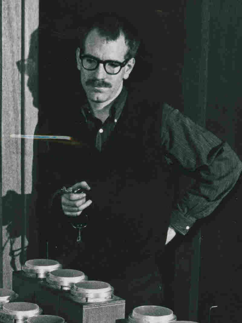 Henry Jacobs, circa mid-1950s, with boobam drums. These instruments were created by William Loughborough and used in several Vortex performances.