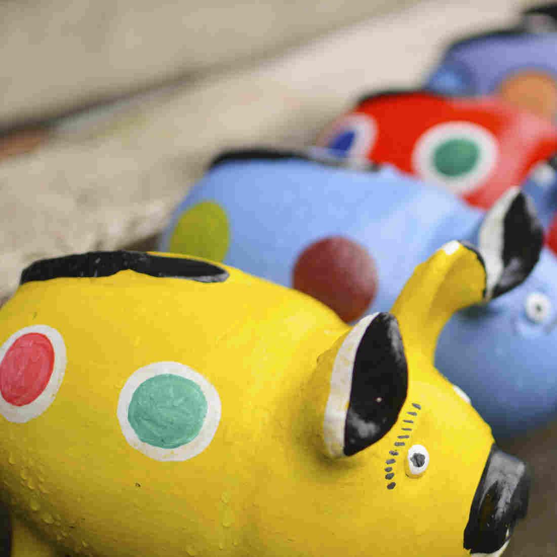 Ceramic handcrafted piggy banks in the shops near Masaya, Nicaragua.