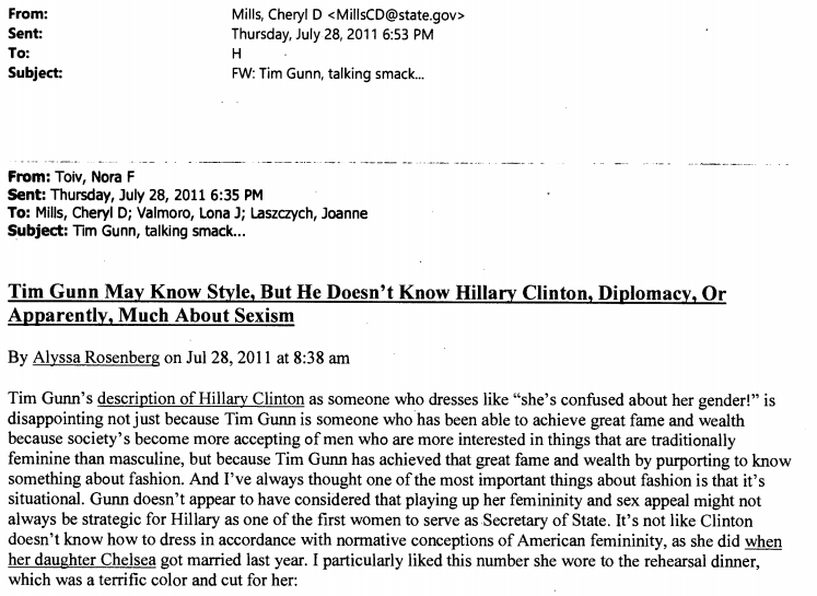 """Clinton wasn't on the """"best dressed"""" list."""
