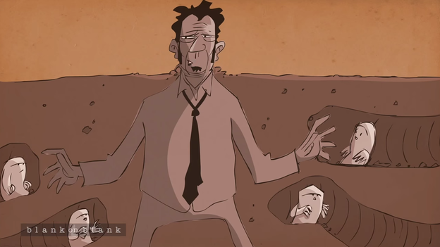 A scene from a PBS animated interview with Tom Waits. (YouTube)