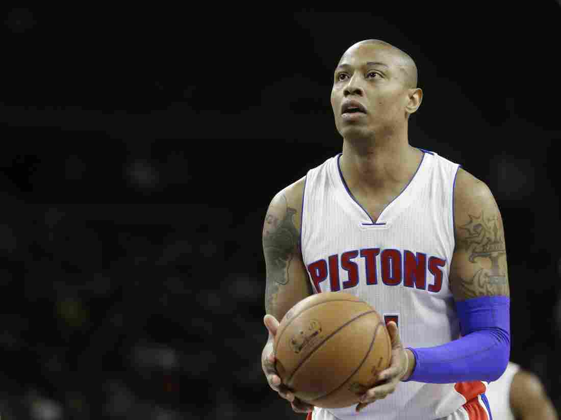 Detroit Pistons forward Caron Butler shoots a free throw during a game against the New York Knicks in February.