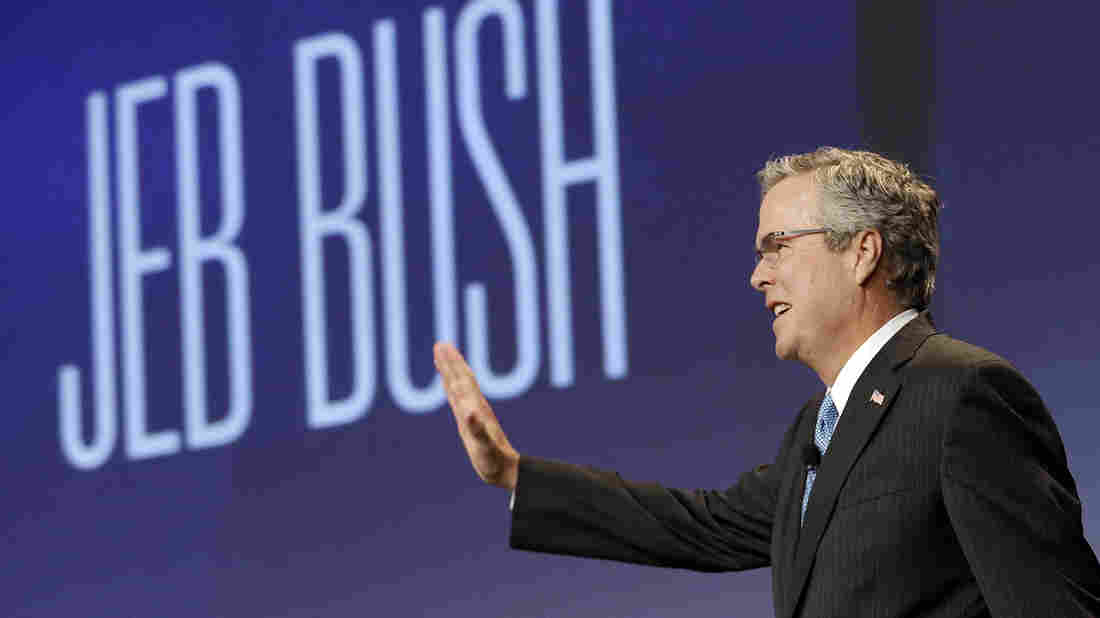 Former Florida Gov. Jeb Bush acknowledges the crowd while being introduced before speaking at the National Automobile Dealers Association convention in San Francisco in January.