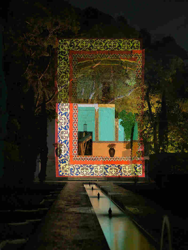 Once in New York, Sikander began mixing modern techniques with traditional elements of Islamic art. Unseen is a projection that also features intricate Indo-Persian borders.