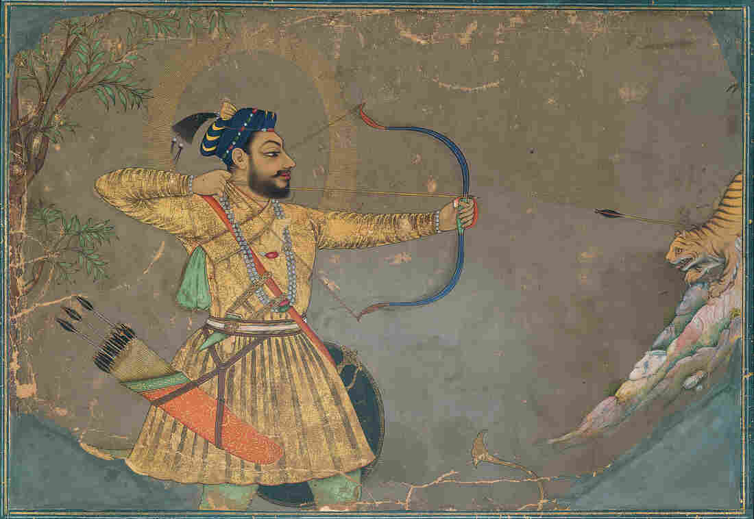 Traditionally, India's miniature paintings told stories of heroism, lovers and political intrigue through gilded works of art. Sultan 'Ali 'Adil Shah II Slays a Tiger (ca. 1660) is part of that tradition. Click here to enlarge.