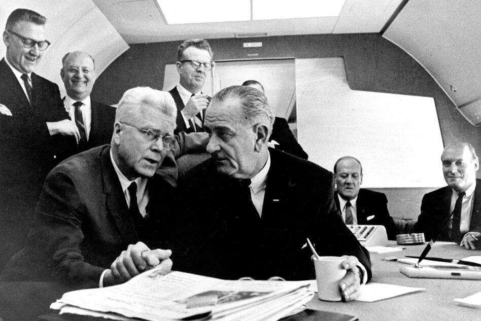 "President Lyndon B. Johnson giving Rep. Michael Feighan the famous ""Johnson treatment"" --€"" using his imposing physical presence to persuade --€"" aboard Air Force One during a presidential trip to Cleveland in 1964. LBJ put heavy pressure on Feighan to support the new immigration legislation. Feighan eventually agreed,€"" but he demanded a crucial change to the act. (Princeton University Library/Simon & Schuster)"