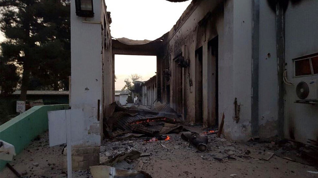 The burned Doctors Without Borders hospital is seen after explosions in the northern Afghan city of Kunduz on Saturday. Doctors Without Borders says 12 staff members and 10 patients were killed in the attack and 37 others were wounded. (AP)