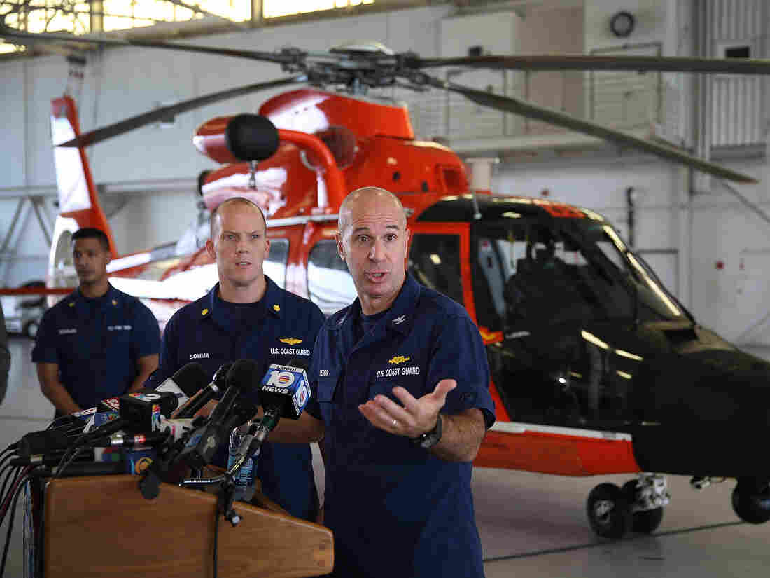 U.S. Coast Guard Capt. Mark Fedor speaks to the media about the sinking of the container ship El Faro. The Coast Guard has concluded that the ship sank after encountering Hurricane Joaquin on Thursday.