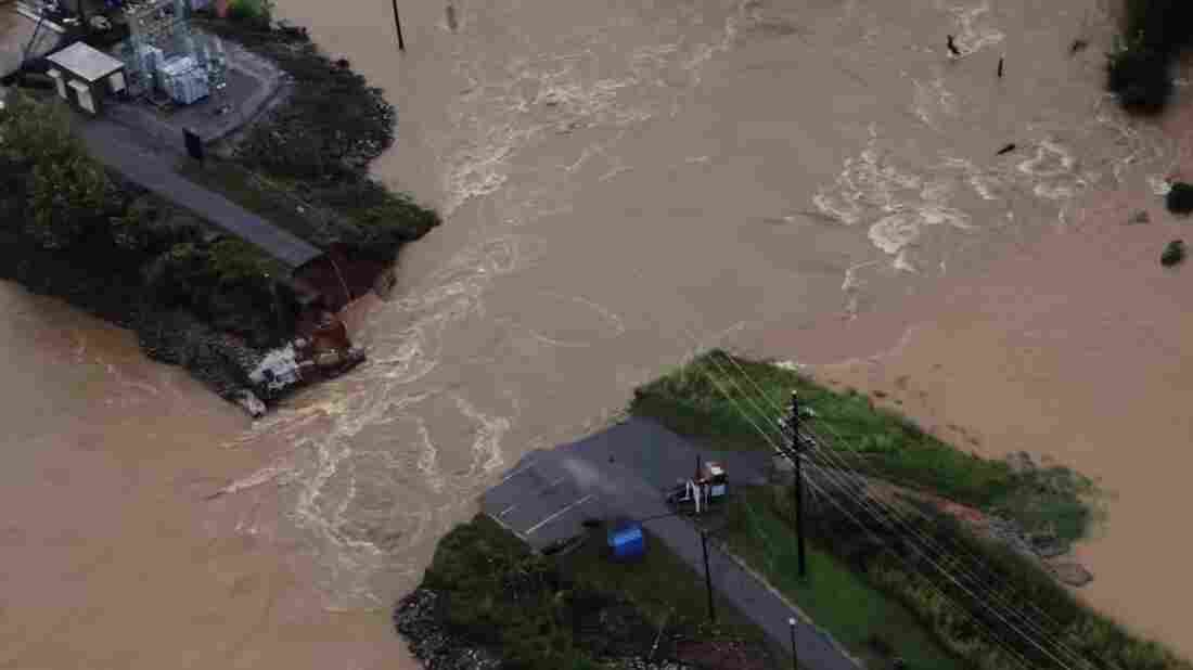 An image from aerial footage of flood damage in South Carolina.