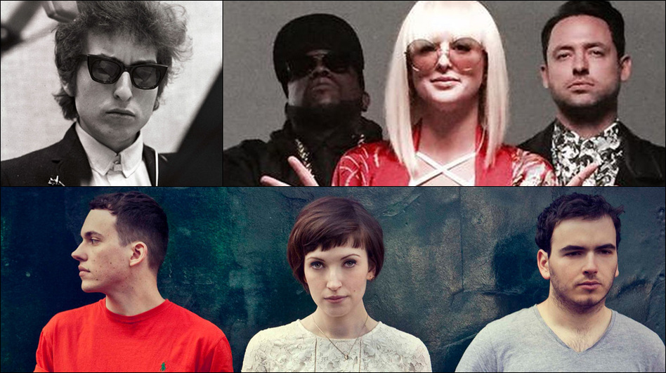 Clockwise from upper left: Bob Dylan, Big Grams, Bill Ryder-Jones, Daughter (Courtesy of the artists)