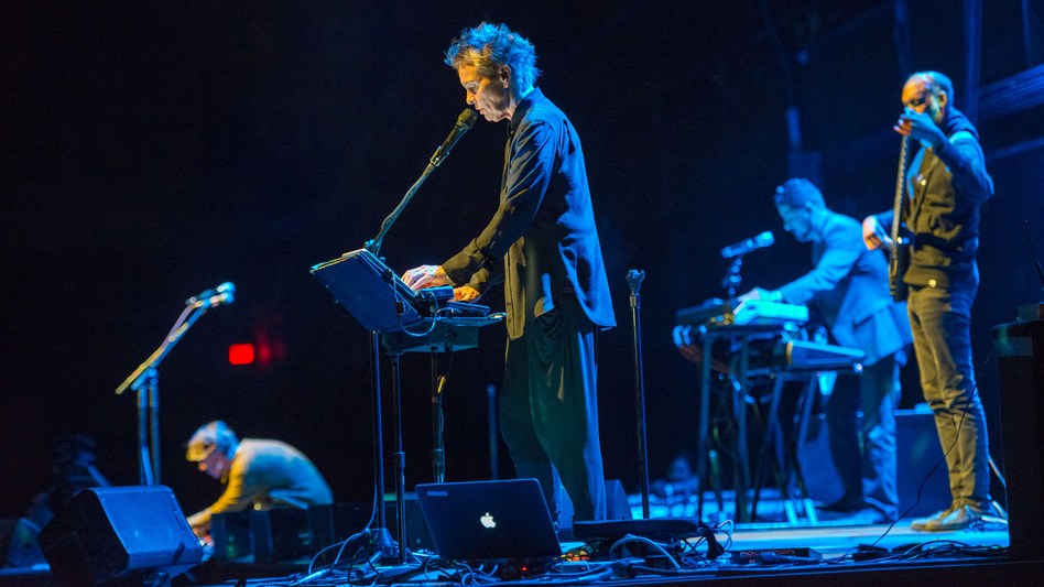Laurie Anderson and her ensemble perform during the concert portion of Habeas Corpus on Friday, Oct. 2. (Park Avenue Armory)