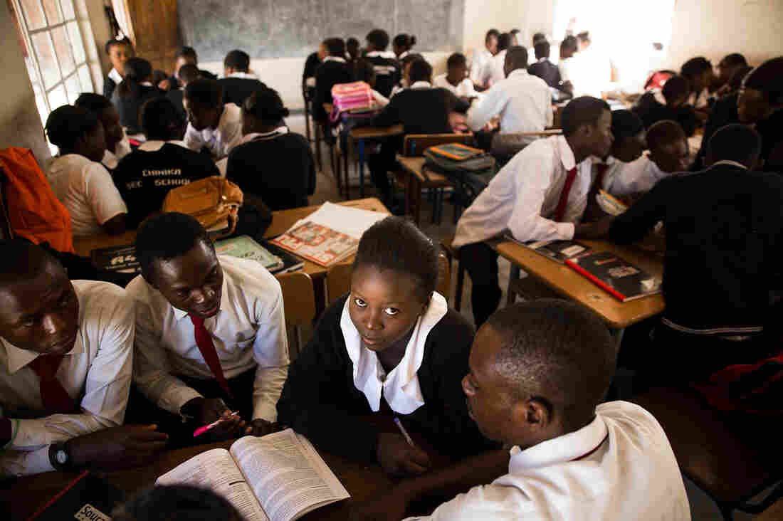 Madalitso Mulando studies at the Chinika Secondary School in Lusaka, Zambia. By fifth grade, the school dropout rate is three times higher for girls than for boys.