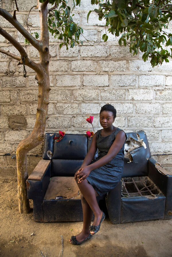 Mulando lives at home, in Lusaka's Kanyama slum, with her extended family.
