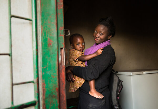 Mulando with her niece, Destiny. (Samantha Reinders for NPR)