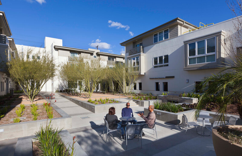A view of a courtyard at the Palo Verde Apartments in Los Angeles. (Courtesy of LA Family Housing)