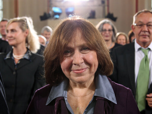 Belarusian journalist Svetlana Alexievich, during the ceremony for the German Book Trade Peace Prize, which she won in 2013. (Daniel Roland/AFP/Getty Images)