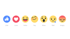 "Facebook tests replacing its ""Like"" button with six emojis: ""Like,"" ""Love,"" ""Haha,"" ""Yay,"" ""Wow,"" ""Sad"" and ""Angry."""
