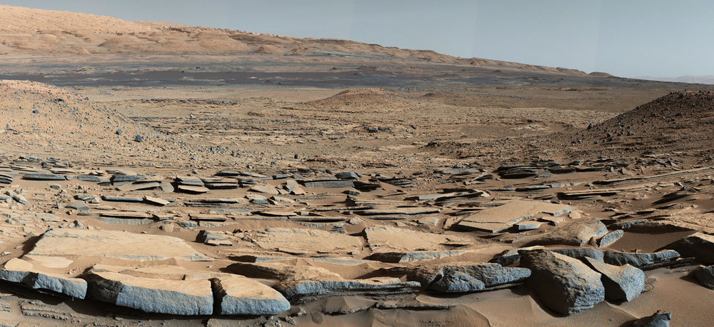 Rocks on the surface of Mars suggest that liquid water pooled on the surface and remained there for long periods.