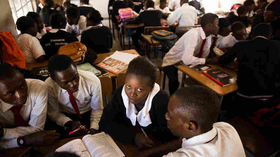 Madalitso Mulando studies at the Chinika Secondary School in Lusaka, Zambia. By 5th grade, the school dropout rate is three times higher for girls than for boys.