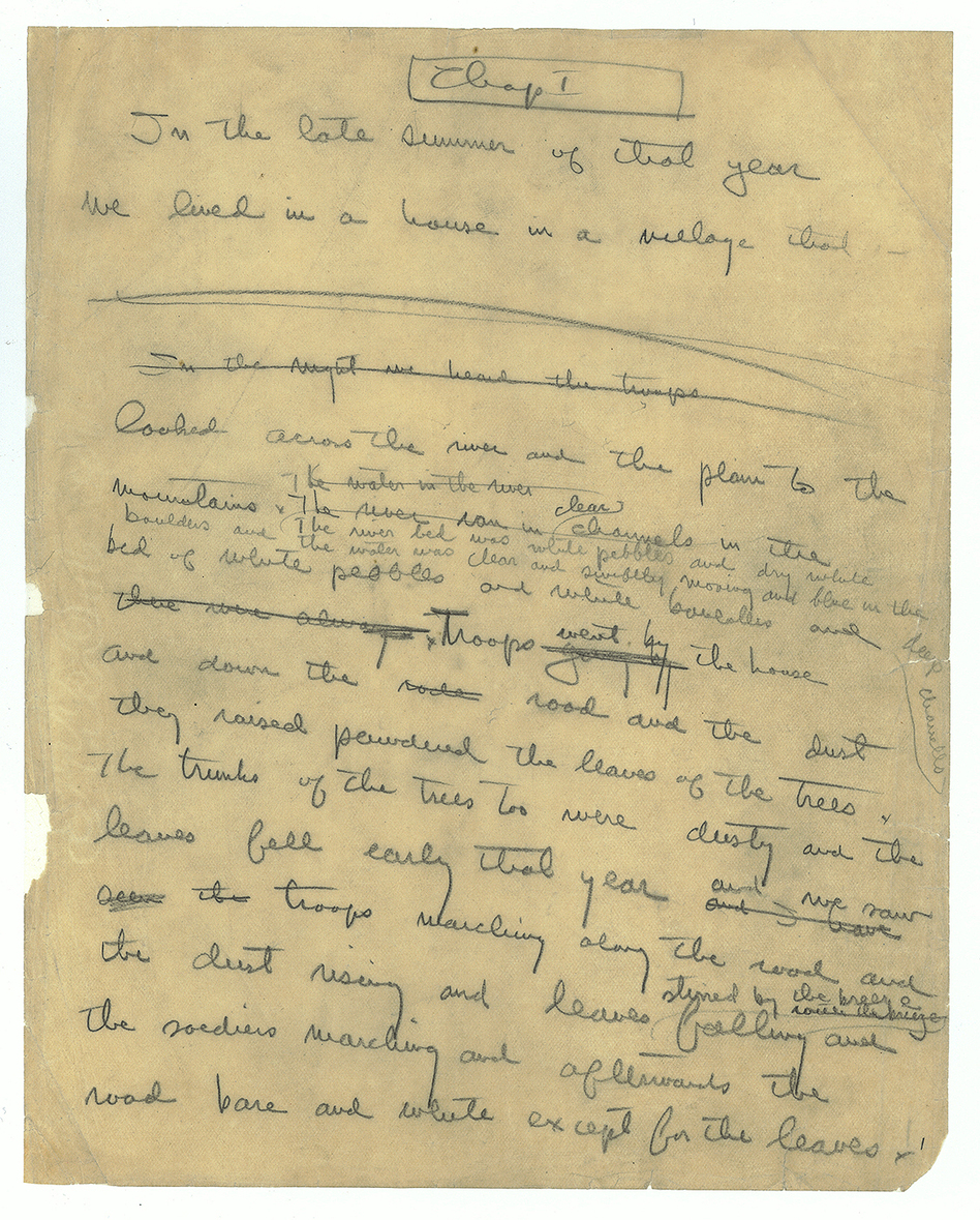 Hemingway wrote 47 endings for his novel <em>A Farewell to Arms</em> before settling on one. Here, the first page of a handwritten <em>Farewell </em>manuscript.