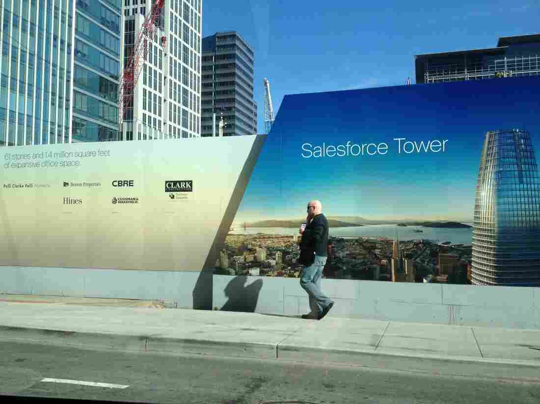 The Salesforce Tower under construction will be the tallest in the Bay Area when completed.