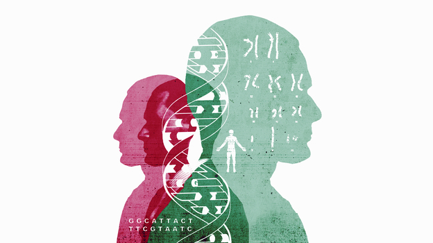 Chromosomes and double helix over silhouettes of man (Ikon Images/Getty Images)