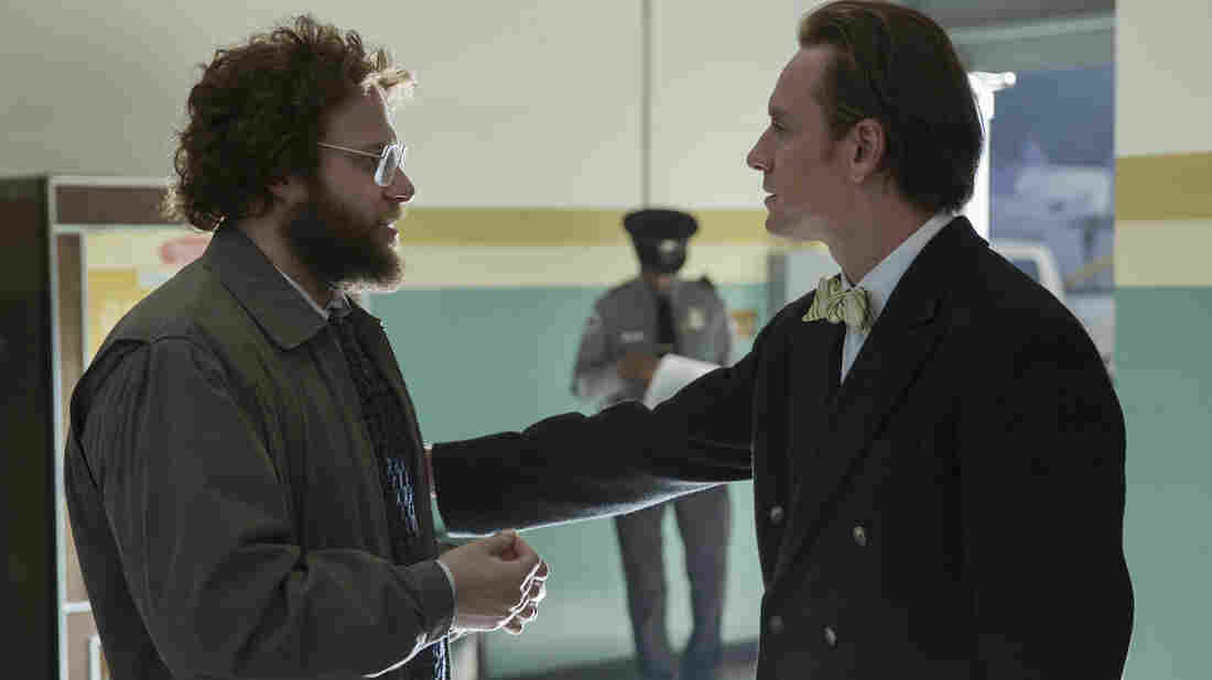 "In the film, Steve Wozniak (Seth Rogen, left) seeks to bring Jobs to acknowledge that, in Boyle's words, ""he's standing on the shoulders of giants."""