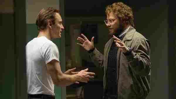 The tension in Steve Jobs comes partly from the terrific performances and partly from juxtaposing Jobs' public and private personas. Michael Fassbender (left) portrays Jobs; he's shown here with Seth Rogen, as Steve Wozniak.
