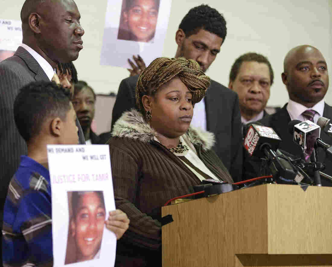 Samaria Rice, the mother of Tamir, a 12-year-old boy fatally shot by a Cleveland police officer, speaks during a news conference in December 2014, in Cleveland.