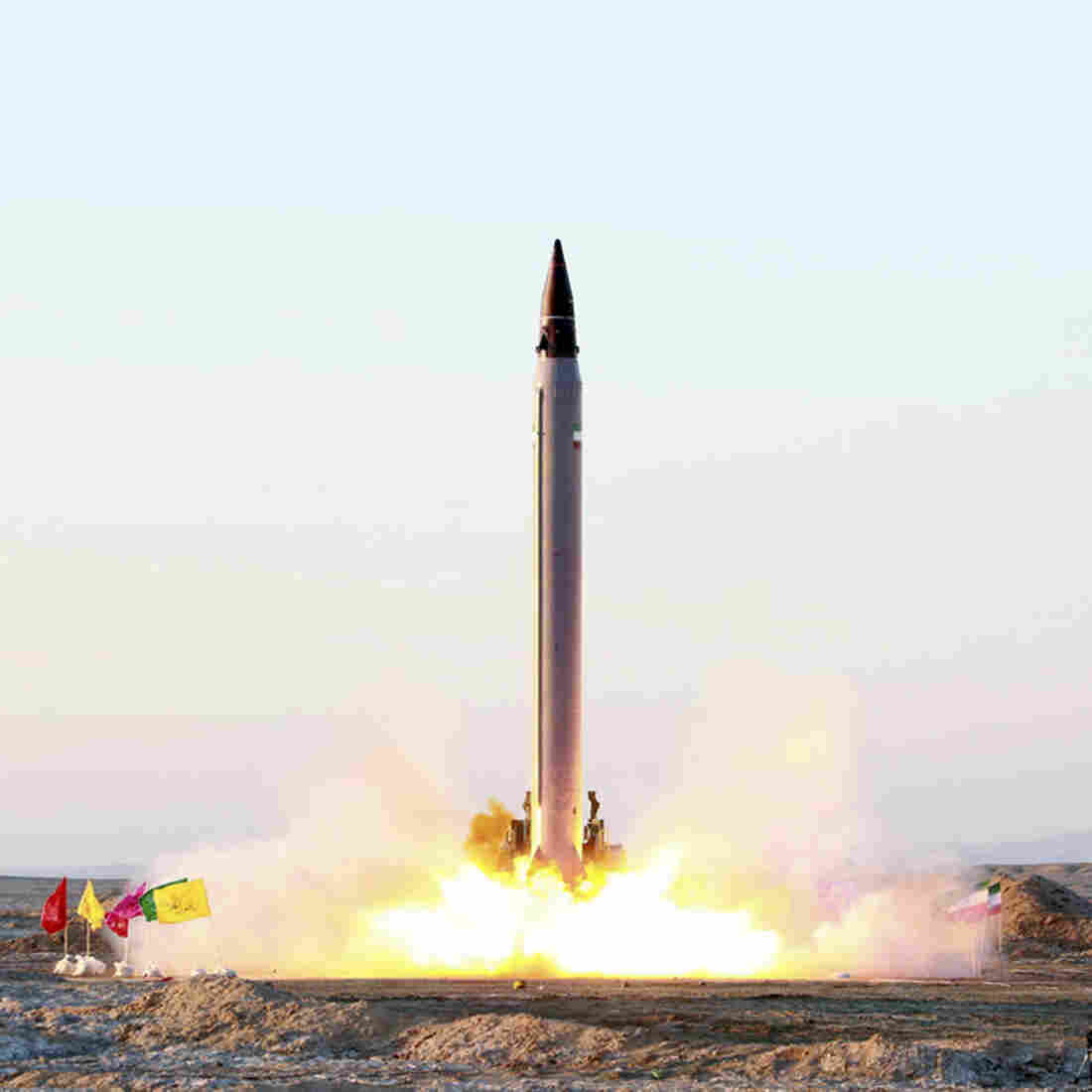This picture, released by the official website of the Iranian Defense Ministry on Sunday, claims to show the launching of an Emad long-range ballistic surface-to-surface missile in an undisclosed location.
