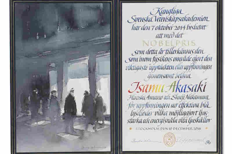 The certificate for 2014 physics laureate Isamu Isamuakasaki, with original artwork by Hasse Karlsson.