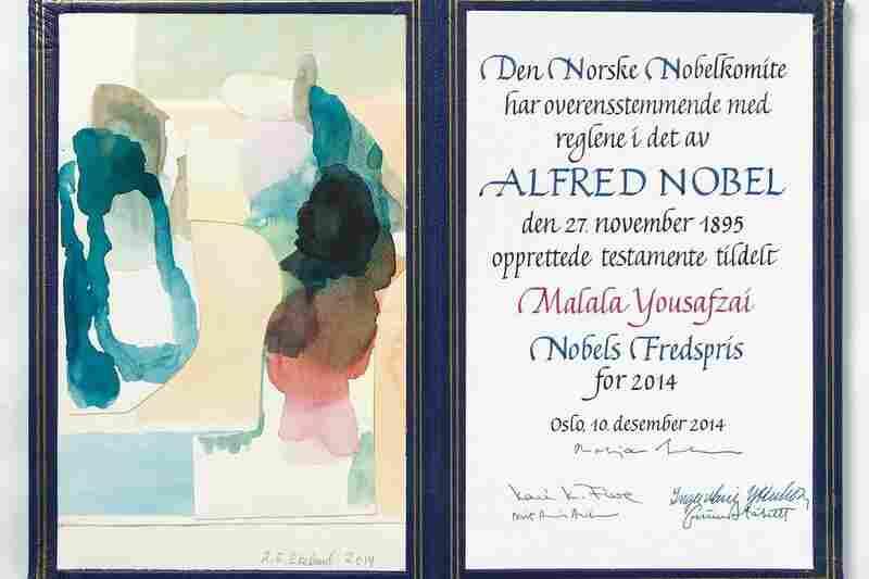 The certificate for 2014 Peace Prize winner Malala Yousafzai, with original artwork by Ruth Elisiv Ekeland.