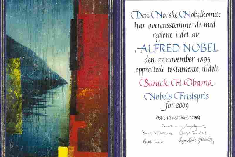 The certificate for 2009 Peace Prize winner Barack Obama, with original artwork by Per Fronth.