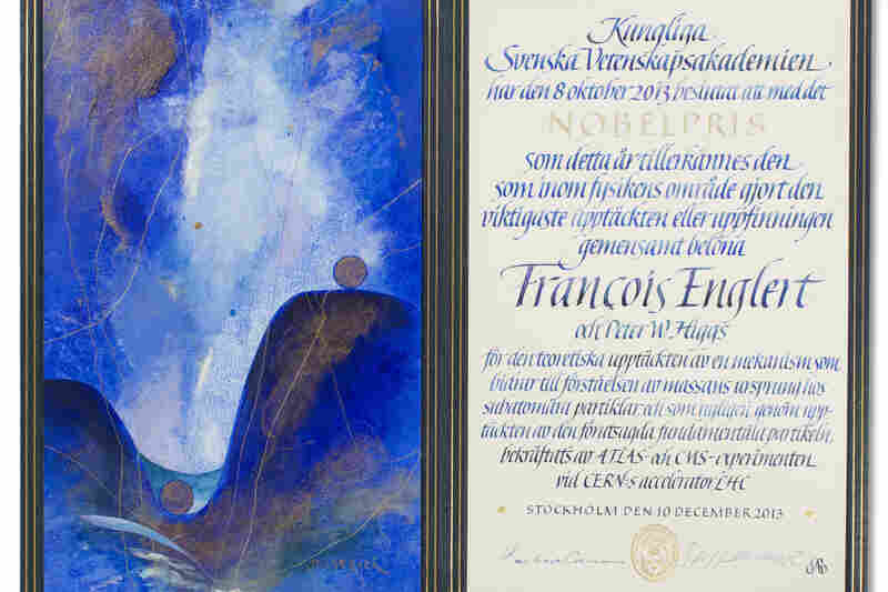 The certificate for 2013 physics laureate Francois Englert — who shared the prize with Higgs — with original artwork by Susanne Jardeback.