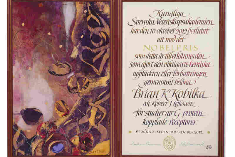 The certificate for 2012 chemistry laureate Brian Kobilka, with original artwork by Susanne Jardeback.