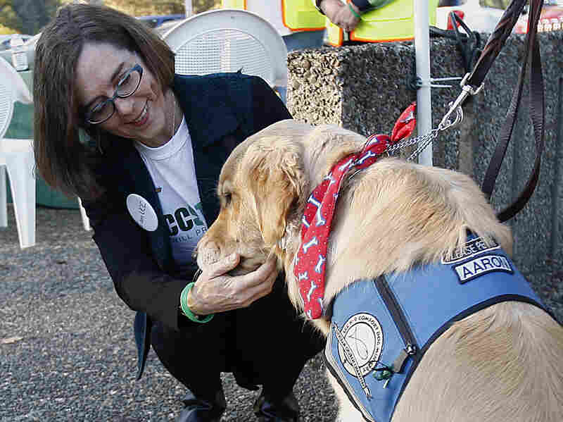 Oregon Gov. Kate Brown greets a therapy dog Monday,  during a tour of Umpqua Community College in Roseburg, Ore. Monday was the first day back to campus for students since the mass shooting on Oct. 1.