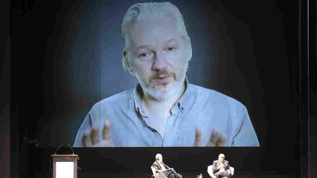 Wikileaks founder Julian Assange, seen here in a teleconference last month, has been under a constant police guard outside Ecuador's London embassy since June of 2012.