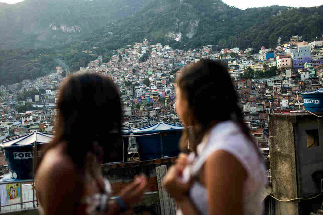 What's up on the roof: Milena and Lala hang out on the rooftop of Milena's house in the Rocinha favela.