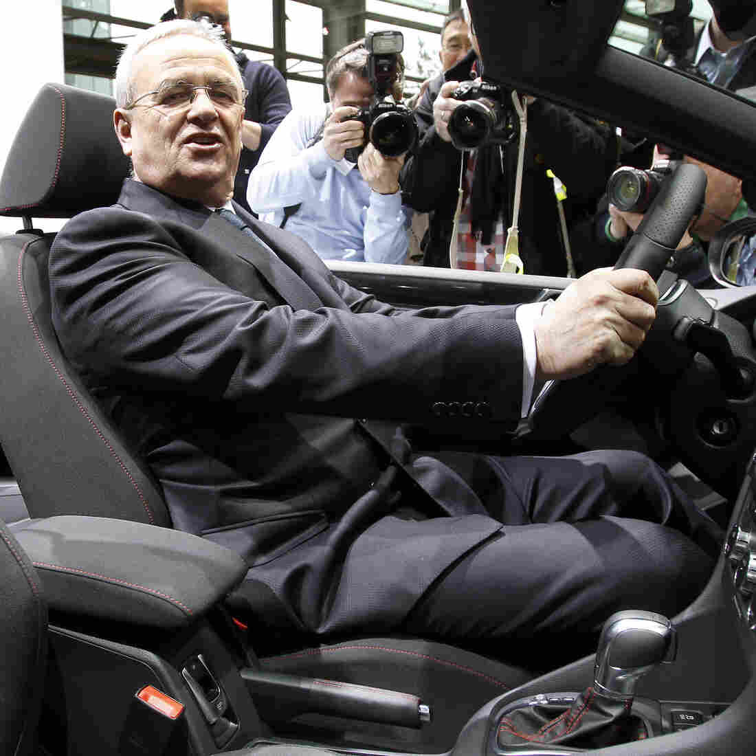 Then-CEO Martin Winterkorn poses at Volkswagen's annual press conference in Wolfsburg, Germany, in 2012. He resigned his post last month following revelations that VW cheated on emissions tests.