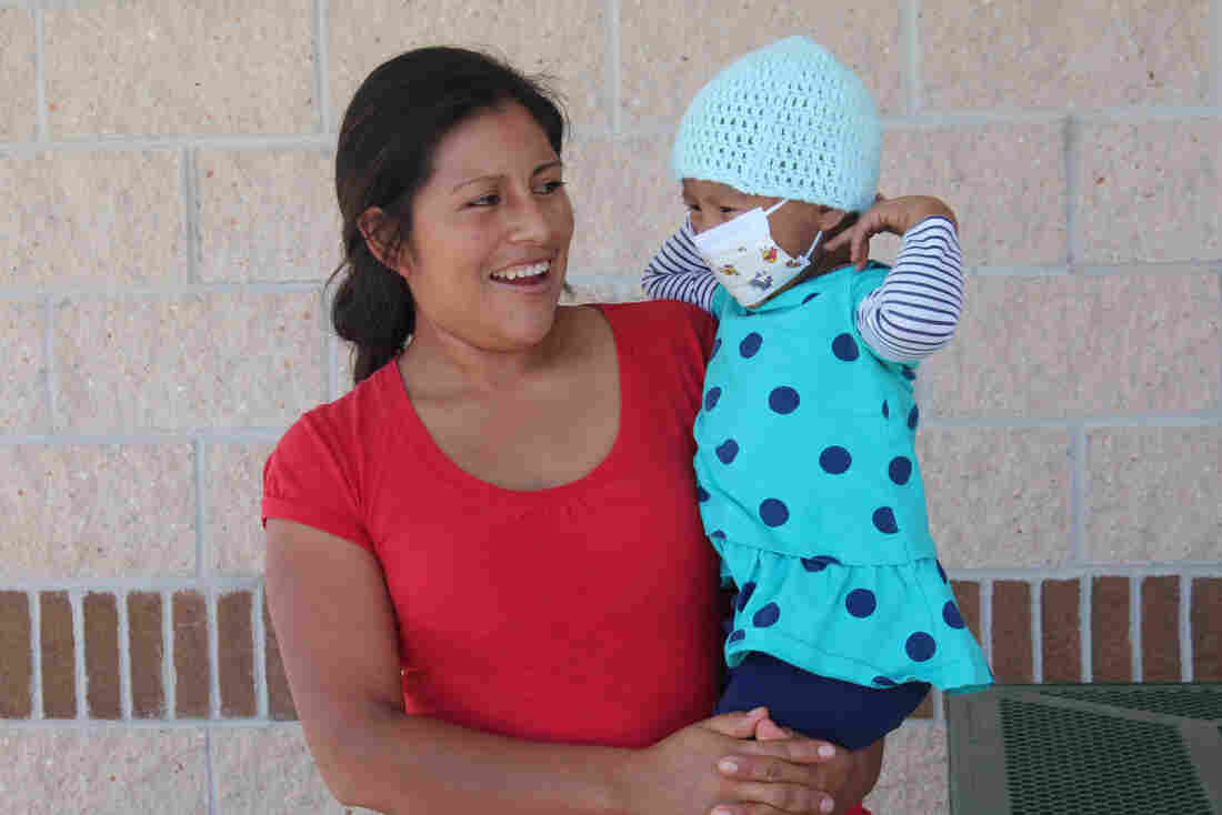 Matilde Avendano, with her daughter Betsy. Betsy is currently being treated for leukemia.