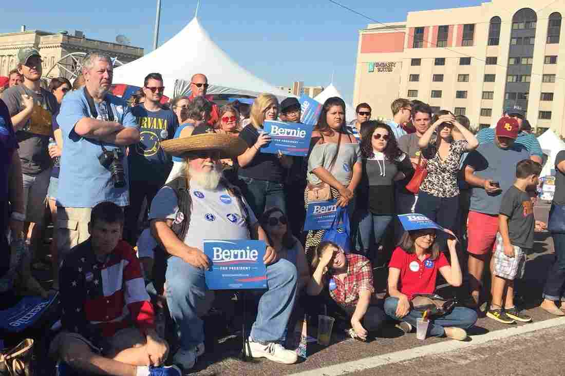 Attendees to the Latino Heritage Festival in Des Moines, Iowa, listen to a speech by presidential candidate Bernie Sanders. Iowa's Latino population has doubled since 2000.