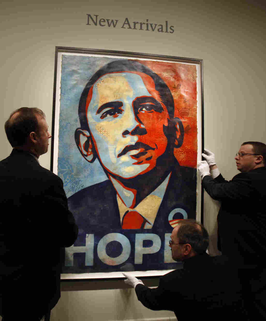 The iconic collage from Obama's 2008 campaign, created by Shepard Fairey, was later installed in the National Portrait Gallery.