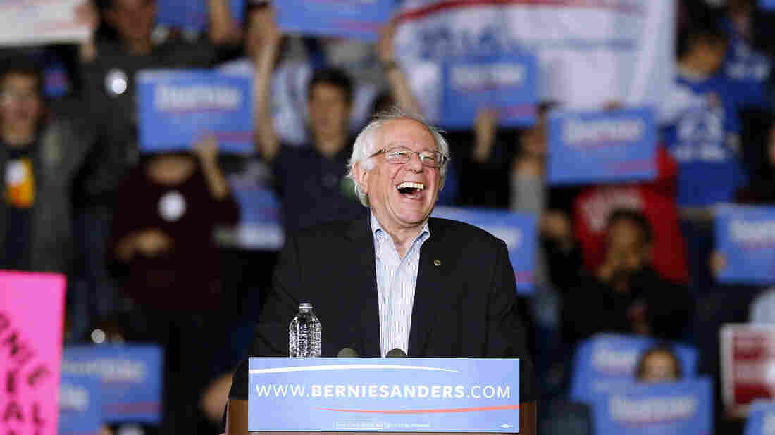 Sen. Bernie Sanders, I-Vt., laughs at a campaign event earlier this month. Sanders taped an appearance on the Ellen show, where he showed a lighter side.